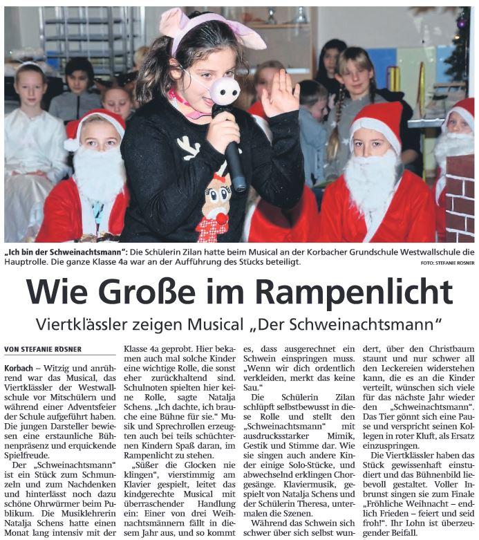 2019 12 13 WLZ Viertklaessler zeigen musical