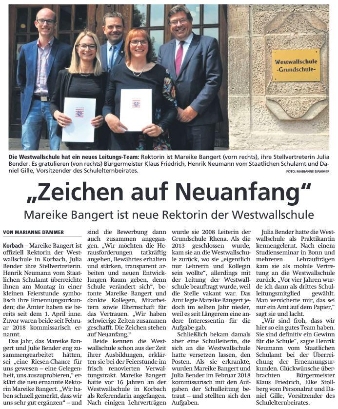 2019 05 23 WLZ Bangert neue Rektorin
